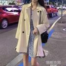 秋冬2020新款韓版英倫風顯瘦系帶中長款風衣外套小個子流行大衣女 韓語空間