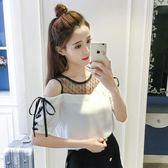 夏季新款減齡圓領套頭五分袖雪紡衫網紗系帶蝴蝶結女裝上衣韓版潮