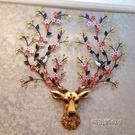 鹿頭壁掛北歐風格招財掛件背景牆面立體裝飾歐式客廳玄關創意鐘表「時尚彩紅屋」