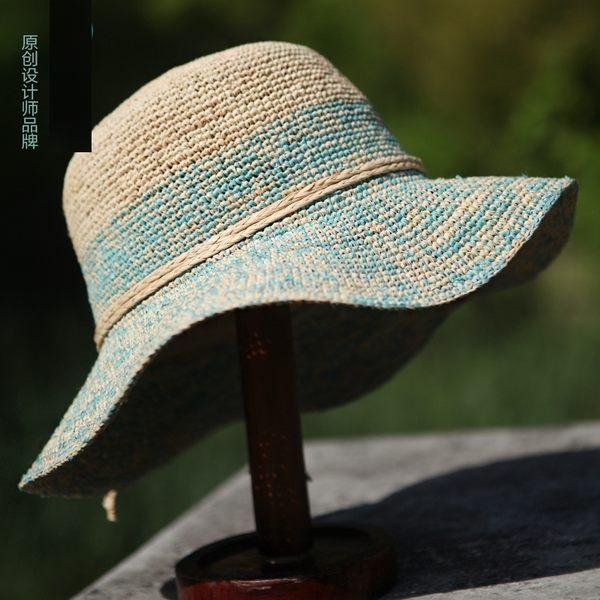 帽子夏天韓版潮範手工拉菲草沙灘帽大簷帽遮陽帽女士可折疊  -396400121