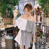 一字領洋裝 韓版一字領露肩拼色吊帶裙條紋短袖洋裝顯瘦學生女 綠光森林