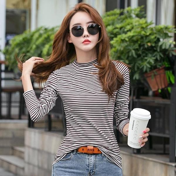 限時特價 半高領打底衫女秋冬新款時尚條紋長袖t恤內搭洋氣緊身上衣薄