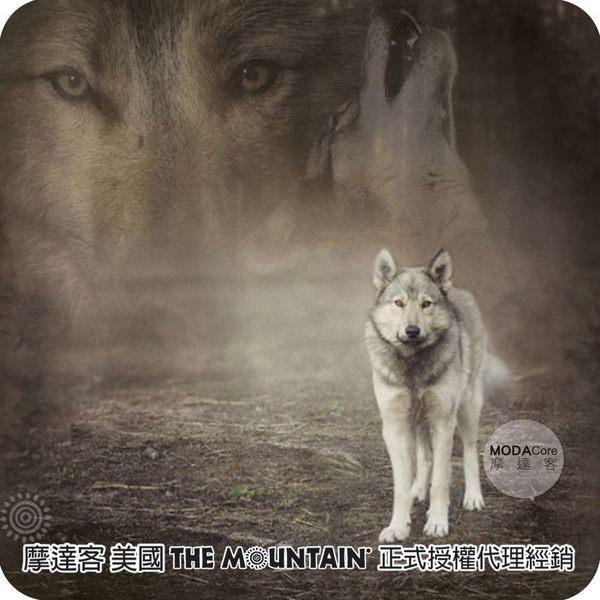 """【摩達客】(預購)美國The Mountain 灰狼凝視 藝術環保托特包(18""""x18"""")"""