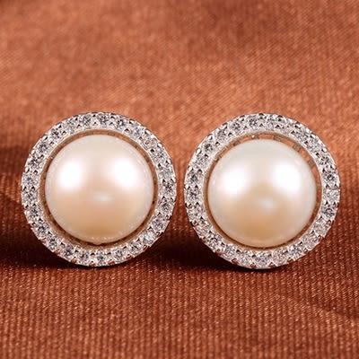 耳環 925純銀鑲鑽銀飾-大方珍珠生日情人節禮物女飾品73dy50【時尚巴黎】