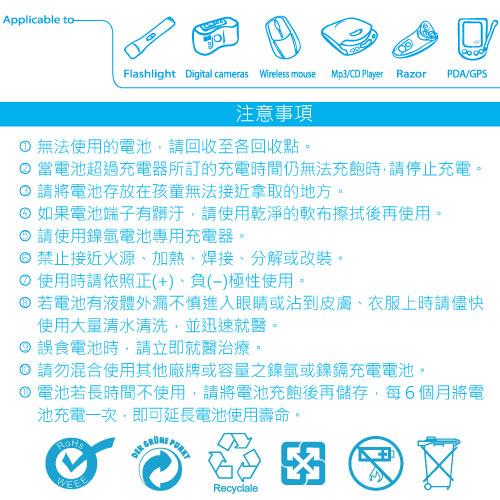 Kamera 佳美能 4號電池 4入 低自放電 AAA 4號 充電電池 閃燈 攝影燈 持續燈 液晶快門線 電池夾
