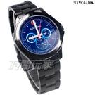 TIVOLINA 個性三眼 賽車錶 多功能 日期 星期 防水手錶 藍寶石水晶鏡面 男錶 IP黑電鍍 MAK3731KB