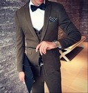 找到自己品牌 韓國男 毛呢料 西裝外套穿搭 三件式套裝 成套西裝 西裝修身 外套+背心+褲子
