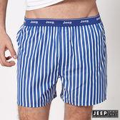 【JEEP】五片式剪裁 純棉平口褲 (深藍條紋)