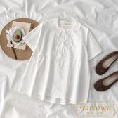 襯衣女裝韓版系帶白色襯衫上衣潮【繁星小鎮】