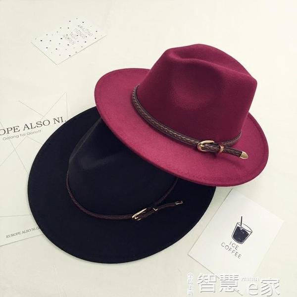 紳士帽歐美風復古羊毛呢帽子皮帶大檐禮帽女秋冬季英倫休閒百搭爵士帽男 交換禮物