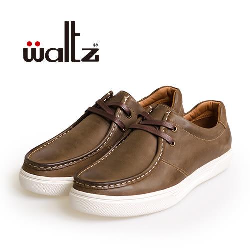 Waltz-仿舊復古感真皮休閒鞋622114-23(咖)
