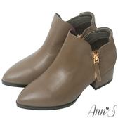 Ann'S潮流趨勢-拼接異材質V口剪裁金拉鍊粗跟短靴-灰