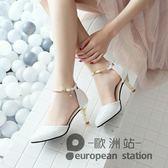 涼鞋/夏季包頭一字扣細跟高跟鞋女中跟「歐洲站」