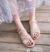 平底涼鞋女仙女風潮新款夏網紅時尚百搭配裙子兩穿涼拖鞋聖誕交換禮物