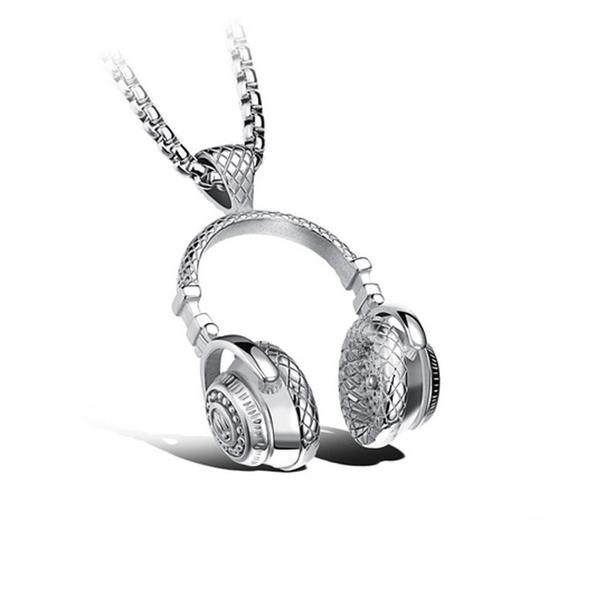 【5折超值價】 最新款歐美時尚搖滾風格耳機造型男款鈦鋼項鍊
