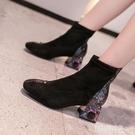 短靴 彈力靴短靴女新款冬季時尚方頭粗跟中筒水鉆中跟襪靴瘦瘦靴 韓菲兒