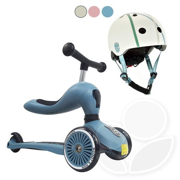 【輸碼折300】【組合】【公司貨】奧地利Scoot&Ride Cool 飛滑步車-岩石藍+兒童運動用頭盔 (3色可選)