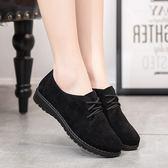 老北京布鞋女鞋透氣舒適英倫休閒復古小皮鞋女平底系帶布洛克單鞋