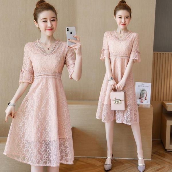 短袖洋裝 中長款短袖蕾絲連身裙仙女氣質收腰顯瘦V領A字大擺裙