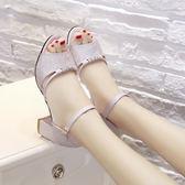 []2018新款女鞋夏季韓版百搭時尚高跟鞋粗跟中跟一字扣帶魚嘴涼鞋女gogo購