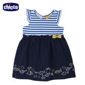 chicco-海洋假期-女童洋裝-條紋小魚