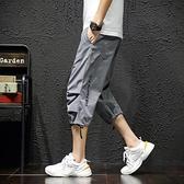 七分褲 短褲男寬鬆夏季薄款休閒7分褲潮流運動五6分沙灘中褲子工裝七分褲