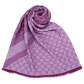 GUCCI 經典雙色緹花斜紋羊毛混絲披肩圍巾(紫色)084088-3