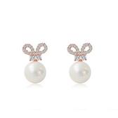 耳環 925純銀鑲鑽銀飾-可愛兔耳生日情人節禮物女飾品73dy65【時尚巴黎】