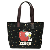 【COACH】史努比SNOOPY聯名帆布大托特購物包(花卉/黑)