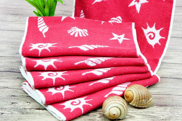 超厚58兩170g 純棉毛巾 運動毛巾 無毒安全 厚實耐用超吸水 / 海洋之星 紅 / 台灣製造 【快樂主婦】