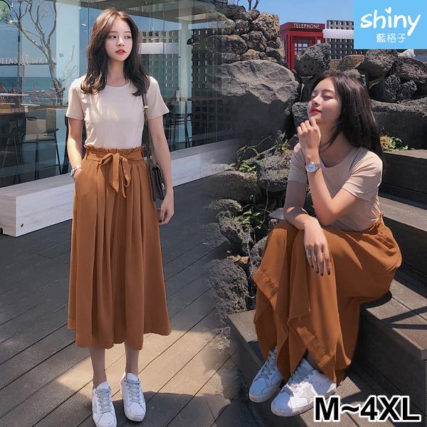 【V3136】shiny藍格子-輕夏甜搭.短袖上衣花邊鬆緊腰寬褲兩件式套裝
