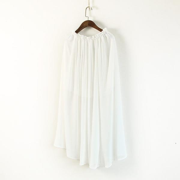 ☆莎lala【E104-0183】日系雪紡長裙-(現)花邊抽繩腰開叉寬鬆(SIZE:約M~L)