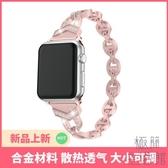 適用蘋果手錶iwatch1/2/3/4錶帶金屬錶帶水鉆輕奢女生【極簡生活】