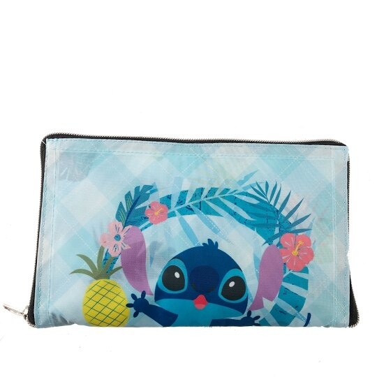小禮堂 迪士尼 史迪奇 折疊環保購物袋 尼龍 環保袋 手提袋 (藍 花朵) 4710243-59737
