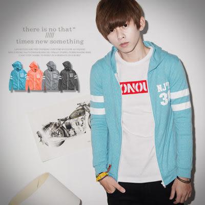 柒零年代【N8757J】秋季運動風手袖雙線34號連帽薄外套(Gar3023)hipster