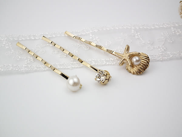 韓國直購 髮飾 海洋風情珍珠鋯石 髮夾 i917ღ