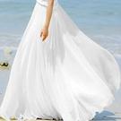 洋裝 沙灘裙2020春夏新款大擺裙波西米亞長裙沙灘裙蓬蓬裙子女裙夏雪紡半身裙 店慶降價