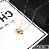 項錬女鈦鋼鎖骨鏈羅馬數字雙環不掉色韓國簡約時尚學生配飾品吊墜『韓女王』