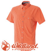 【Wildland 荒野 男款 彈性格子布短袖襯衫《橘》】0A51208/春夏款/短袖/襯衫★滿額送
