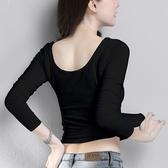 【限時下殺89折】棉質性感低領緊身素色打底衫女長袖t恤低胸衛生衣
