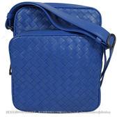 茱麗葉精品 全新精品 BOTTEGA VENETA 407649 經典手工編織小羊皮雙層小斜背包.寶藍