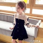 女童洋裝 女童連衣裙秋裝新款兒童韓版洋氣法式絲絨公主裙女孩裙子 快速出貨