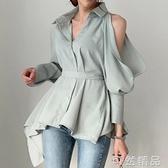 韓國氣質優雅翻領單排扣鏤空后背繫帶小心機漏肩燈籠袖襯衫女 可然精品
