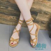 2018夏季韓版交叉綁帶小坡跟露趾系帶平底涼鞋沙灘鞋休閒羅馬女鞋