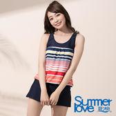【Summer Love 夏之戀】亮麗條紋連身褲二件式泳衣(S18734)