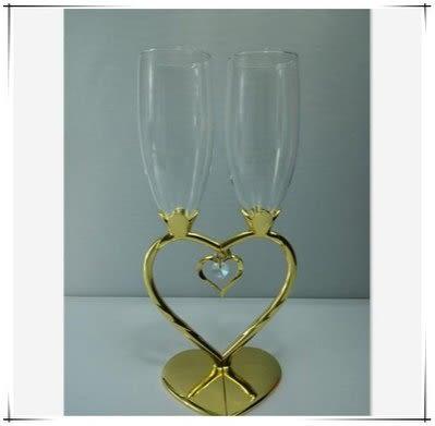 雙心形紅酒香檳杯情侶對杯【藍星居家】