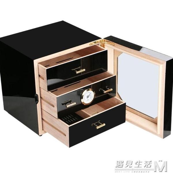 cohiba雪茄盒保濕盒多層透明雪鬆木保濕箱保濕櫃鋼琴烤漆雪茄煙盒 WD 雙十二全館免運