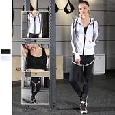瑜珈服運動套裝(三件套)-時尚連帽套指袖口女健身衣2色73mt2【時尚巴黎】
