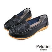【Pelutini】donna 淺口刺繡豆豆鞋 黑色(W078-BL)