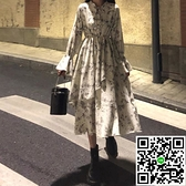 連身裙長袖碎花茶歇洋裝女裝【風之海】